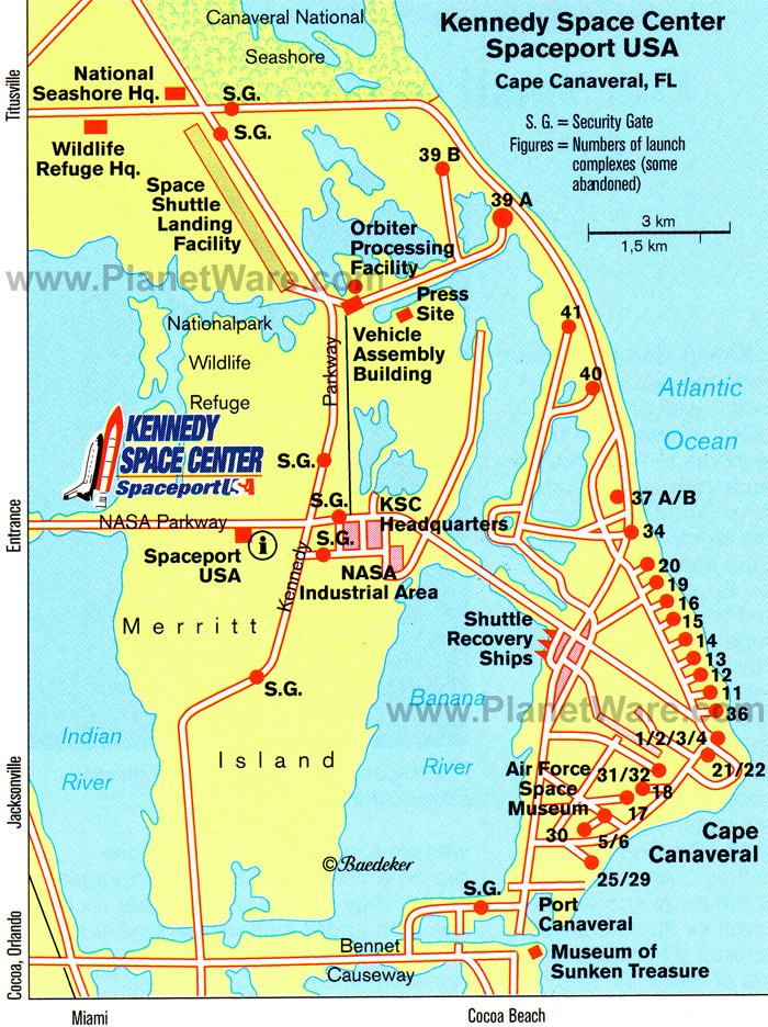 Kennedy Space Center - Spaceport USA Map - Tourist Attractions