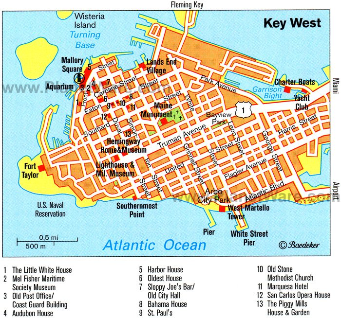 16 TopRated Tourist Attractions in Key West – Florida Tourist Attractions Map