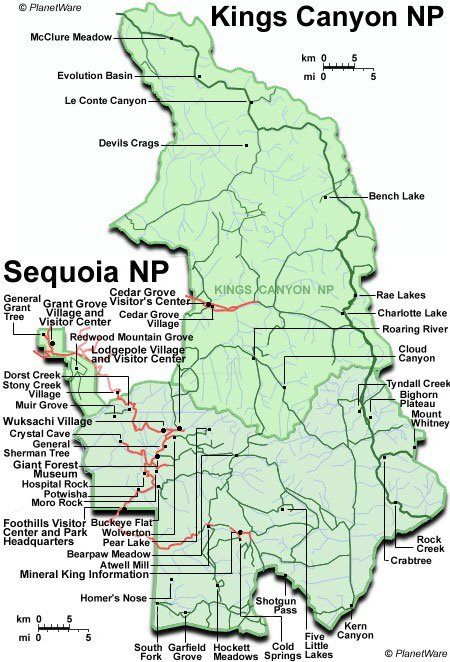 Some attractions within Kings Canyon and Sequoia National Parks Map: