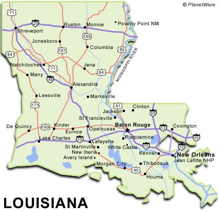 Some attractions within Louisiana Map: