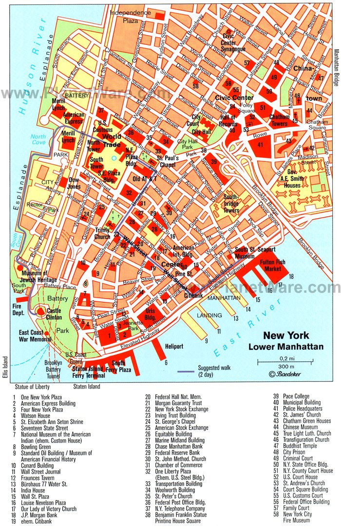 Lower Manhattan Tip Map - Tourist Attractions