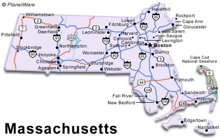 Massachusetts is one of the New England states and is divided by the