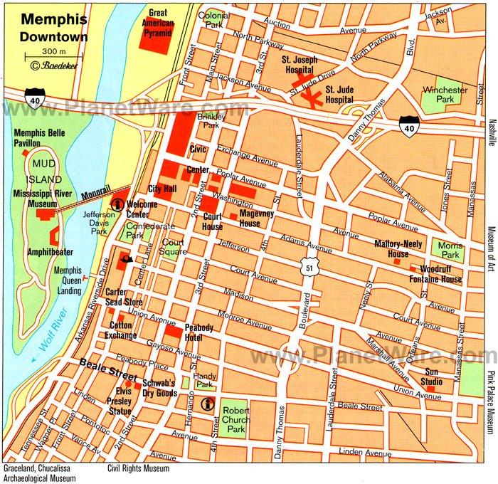 Memphis Map - Tourist Attractions