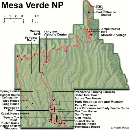 Mesa Verde National Park - Map
