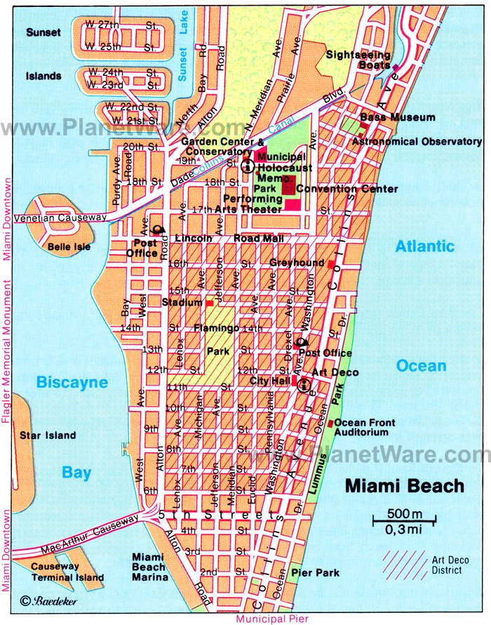 Miami Beach Map Tourist Attractions