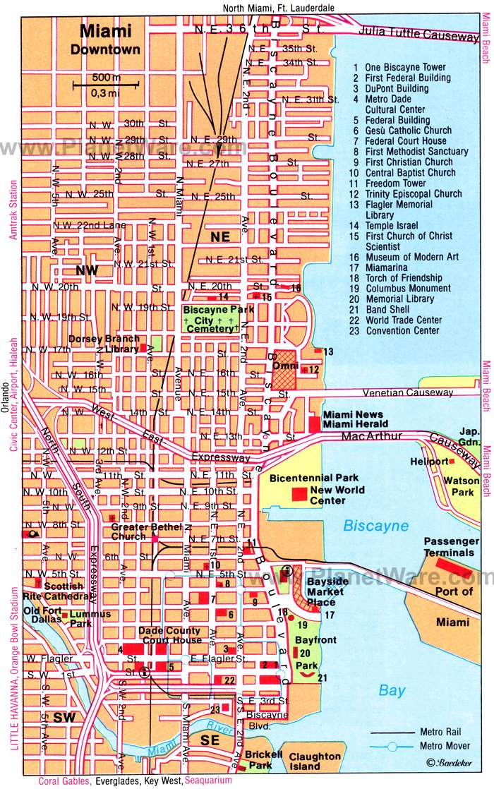 Miami Map Tourist Attractions
