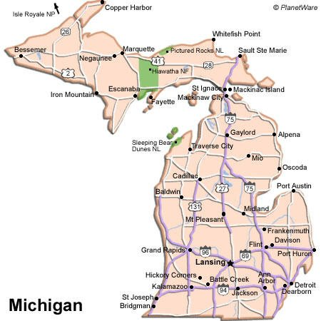 Michigan has access to many freshwater beaches from Lakes Michigan and