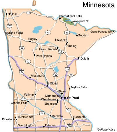 image regarding Printable Maps of Minnesota referred to as Minnesota Generate Lead PlanetWare