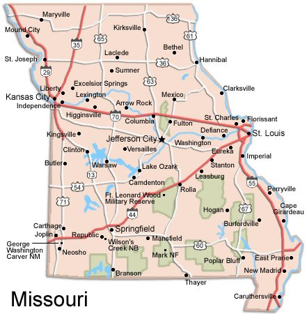 Missouri Travel Guide PlanetWare - Mossouri map