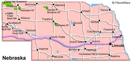 Nebraska Travel Guide PlanetWare - Nebr map