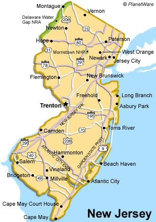 New Jersey is bounded by the Atlantic Ocean and Delaware River creating the