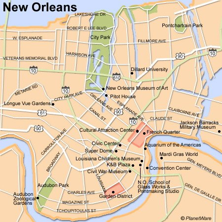 New Orleans Map - Tourist Attractions