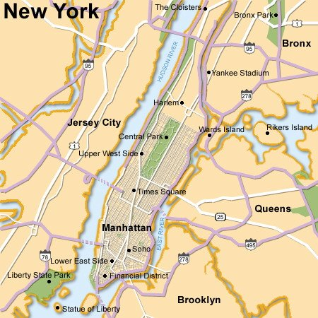new york map city. New York City and the