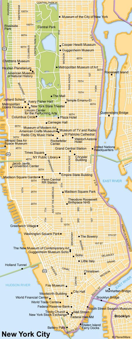 new york city map tourist attractions
