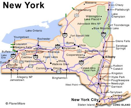 State Map Of New York.New York Travel Guide Planetware