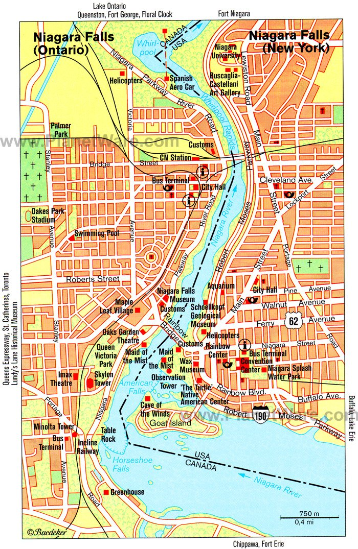 Niagara Falls Map - Tourist Attractions