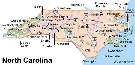 North Carolina Travel Guide PlanetWare - Map of n carolina