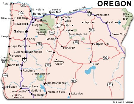 Oregon Map Image.Oregon Travel Guide Planetware