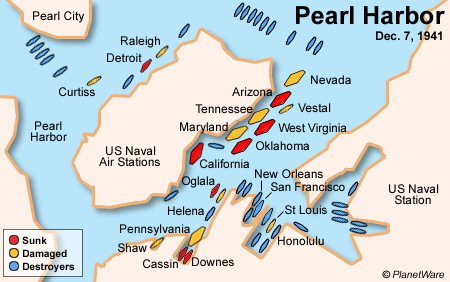 Pearl Harbor - Dec 7, 1941 - Map