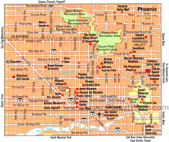 Phoenix Map - Tourist Attractions