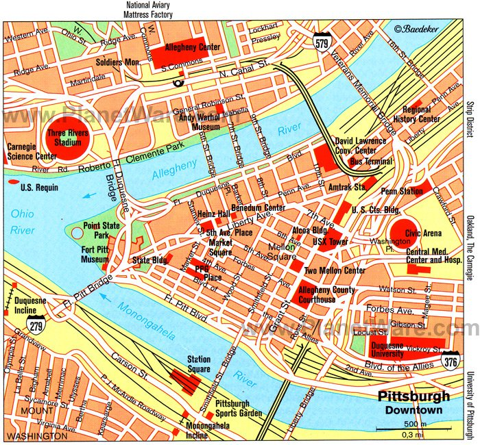 Pittsburgh (Downtown) Map - Tourist Attractions