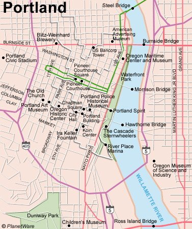 TopRated Tourist Attractions In Portland Oregon PlanetWare - Portland usa map
