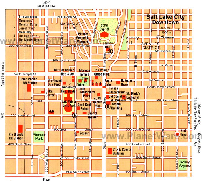 Salt Lake City Map - Tourist Attractions