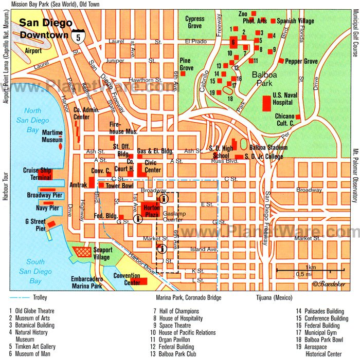 San Diego Downtown Map Tourist Attractions