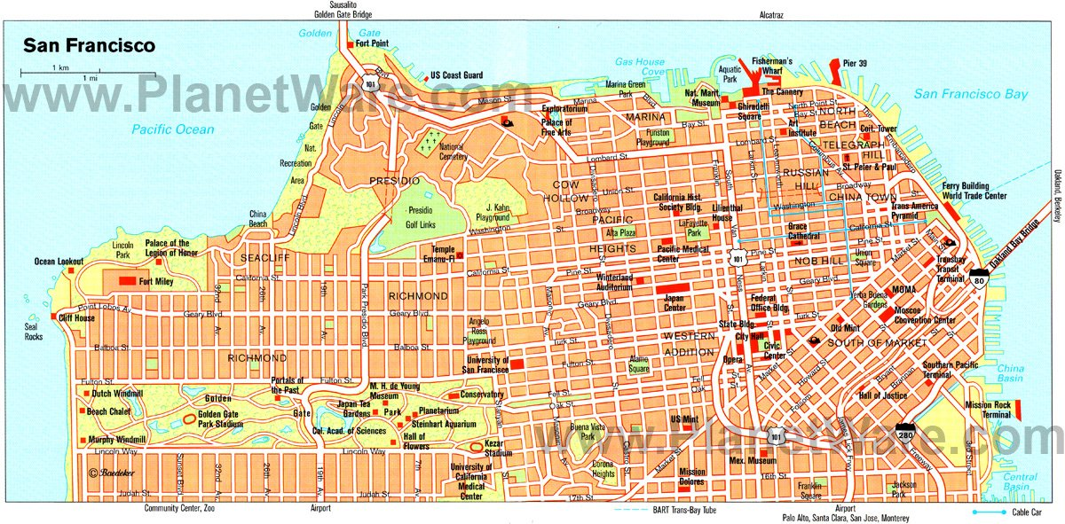 TopRated Tourist Attractions In San Francisco PlanetWare - Us map san francisco