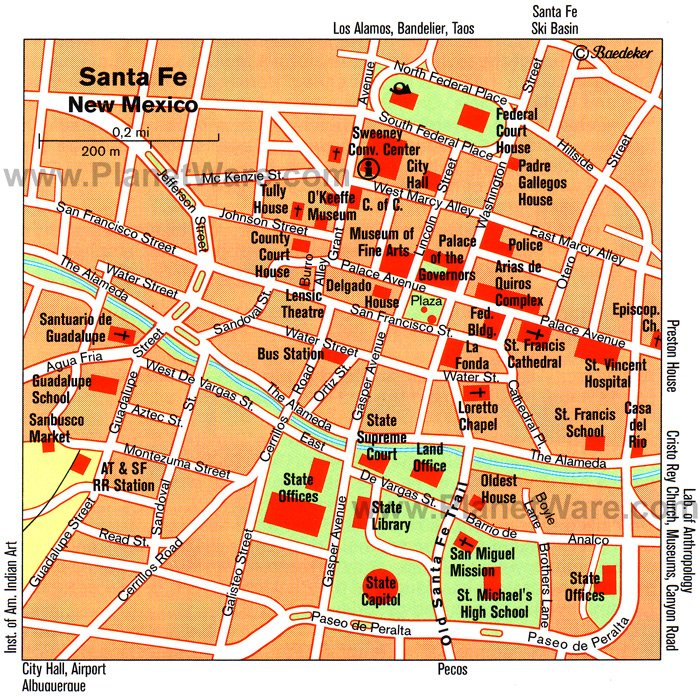 Santa Fe (Downtown) Map - Tourist Attractions