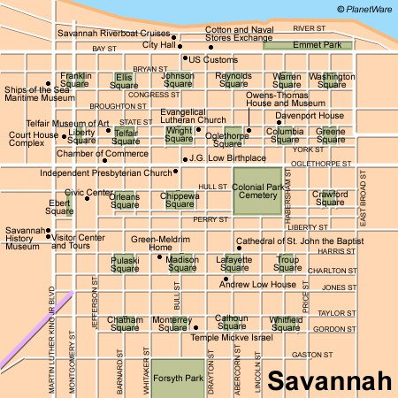 Savannah Map - Tourist Attractions