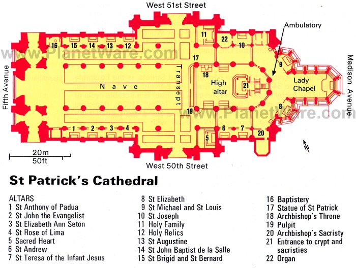 New York - St Patrick's Cathedral - Floor plan map