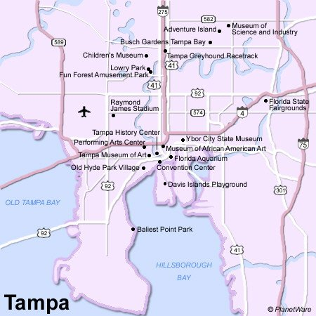 Tampa Map - Tourist Attractions