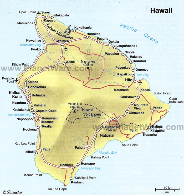 Some attractions within The Big Island of Hawaii Map: