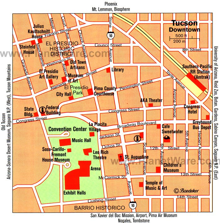Tucson Map - Tourist Attractions
