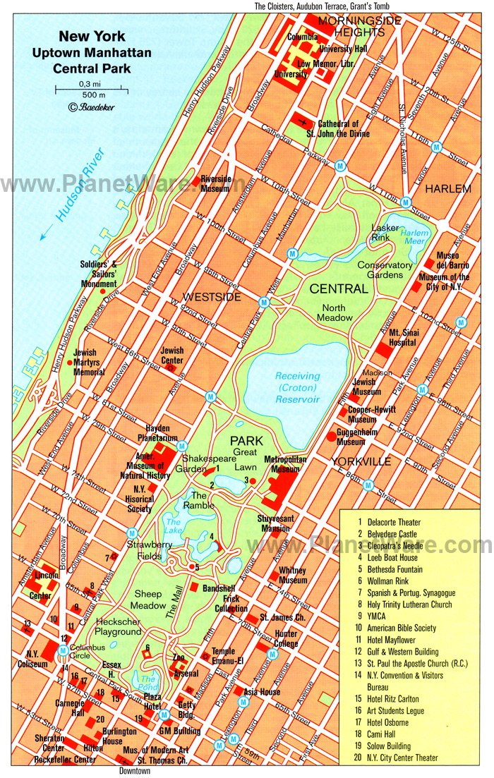 Uptown Manhattan and Central Park - Floor plan map