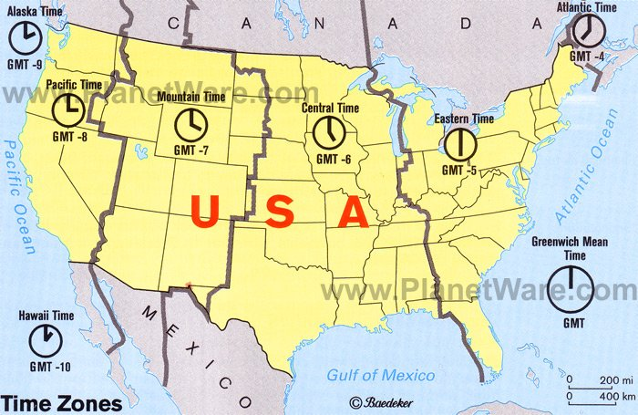 Maps Time Zones Us Map United States - Time zones in the us map