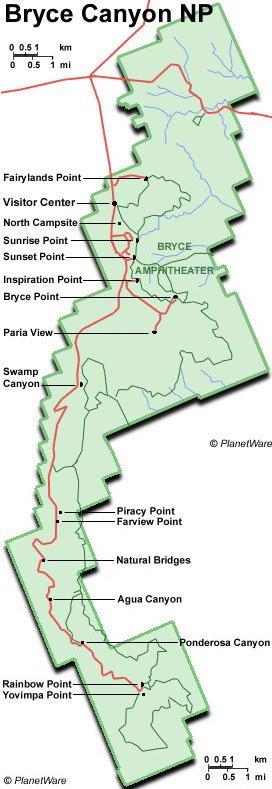 Utah - Parque Nacional Bryce Canyon - Mapa