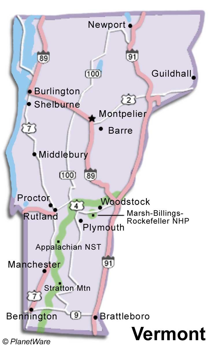 Vermont Travel Guide – Vermont Tourist Attractions Map
