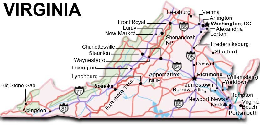 Virginia Travel Guide – Virginia Tourist Attractions Map