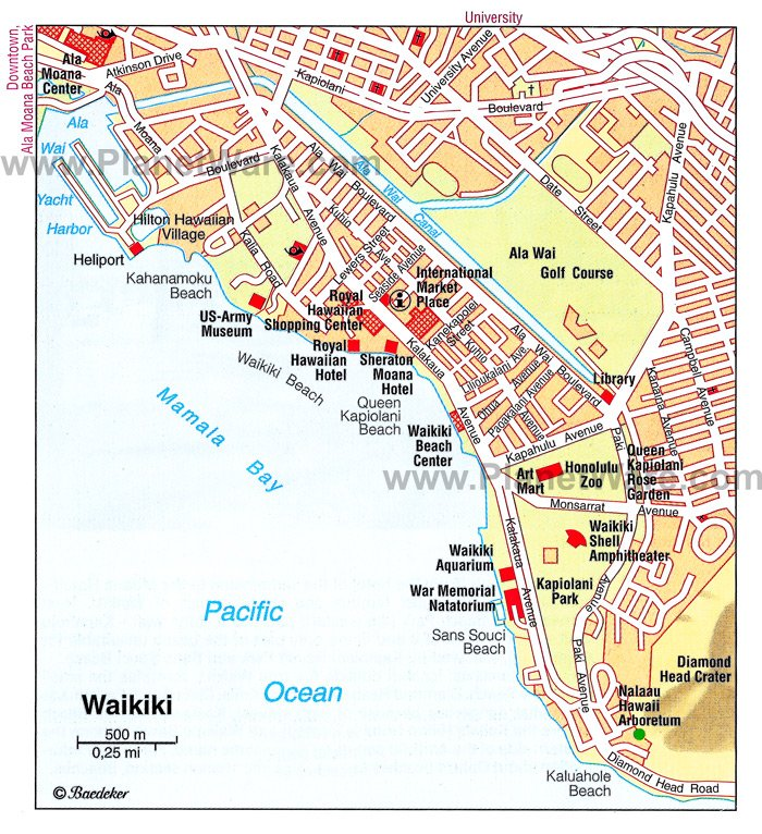 Waikiki Map - Tourist Attractions