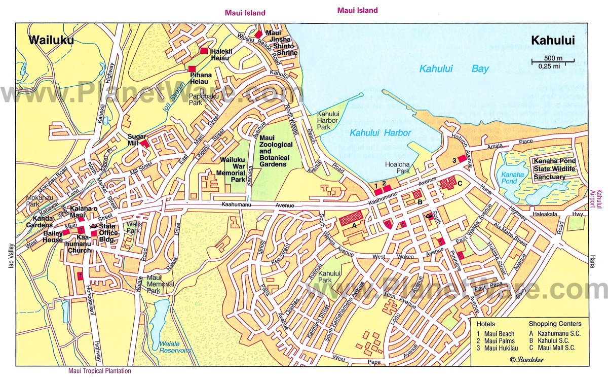 Some attractions within Map of Wailuku and Kahului MapWailuku Map