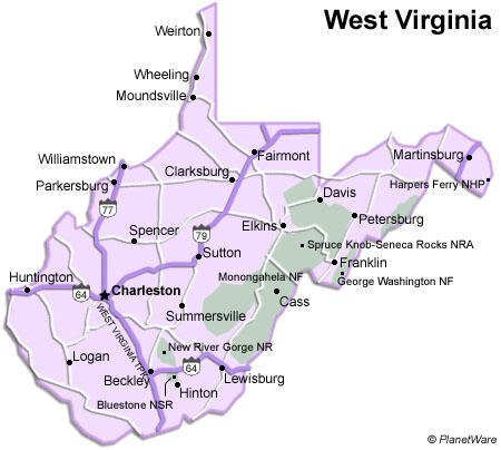 West Virginia Travel Guide PlanetWare - West virginia on a map of the us