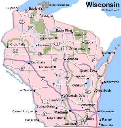 Some attractions within Wisconsin Map: