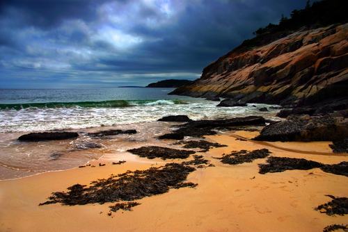 Coastline of Acadia National Park near Bar Harbor.