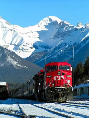 A train through Banff National Park.