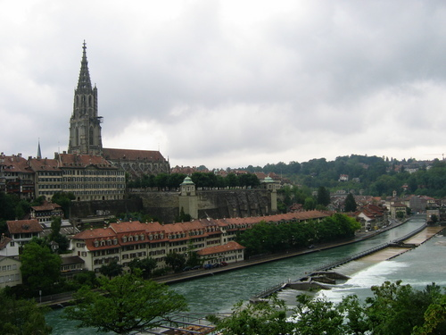 Bern Tourist Information: center of bern from a bridge berne bern