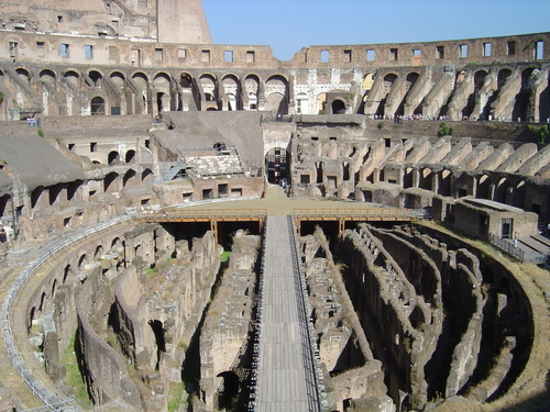 Lower levesl of Ancient Colosseum in Rome.