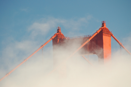 golden gate bridge fog. Golden Gate Bridge enshrouded