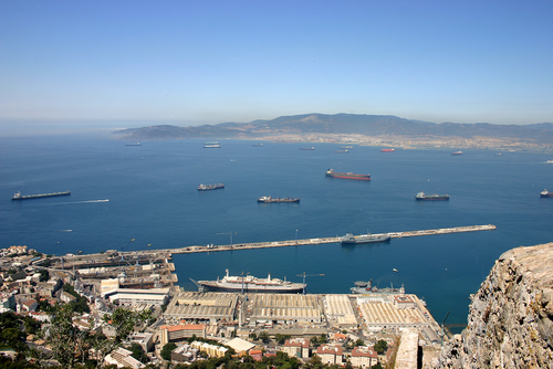 The harbor in Gibraltar and the Strait of Gibraltar.